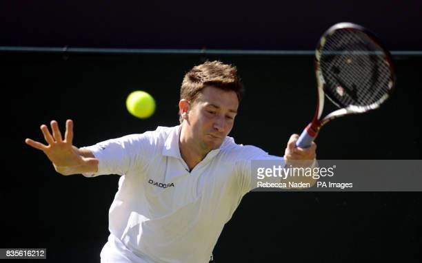 Great Britain's Alex Bogdanovic in action during the 2009 Wimbledon Championships at the All England Lawn Tennis and Croquet Club Wimbledon London