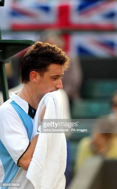 Great Britain's Alex Bogdanovic on his way to defeat against Austria's Alexander Peya during the Davis Cup World Group PlayOffs at The All England...