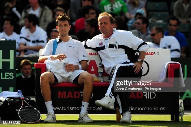 Great Britain's Alex Bogdanovic talks to team captain John Lloyd during the Davis Cup World Group PlayOffs