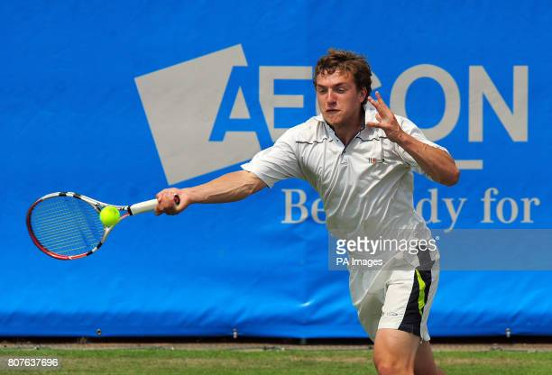 Great Britain's Alexander Ward in action against USA's Taylor Dent during the AEGON Trophy at Nottingham Tennis Centre Nottingham