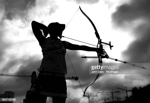 Great Britain's Alison Williamson during an Archery practice session in Macau China