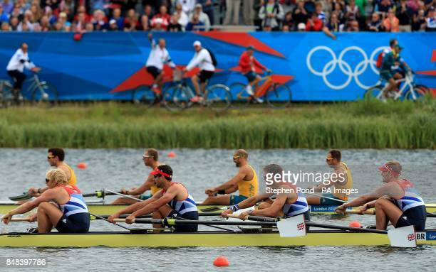 Great Britain's Andrew Triggs Hodge Tom James Pete Reed and Alex Gregory pass the Australian crew to win their semi final in the men's four at Eton...