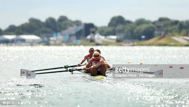 Great Britain's Andrew Triggs Hodge with Tom James Pete Reed and Alex Gregory in action in their heat of the Men's Four at Eton Dorney on the third...