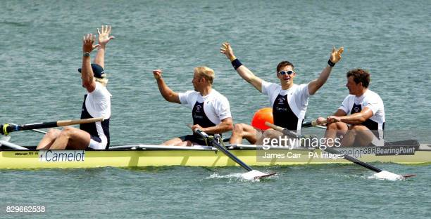 Great Britain's Andy Hodge Alex Partridge Peter Reed and Steve Williams celebrate after winning the coxless fours event