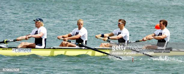 Great Britain's Andy Hodge Alex Partridge Peter Reed and Steve Williams on their way to winning the coxless fours event