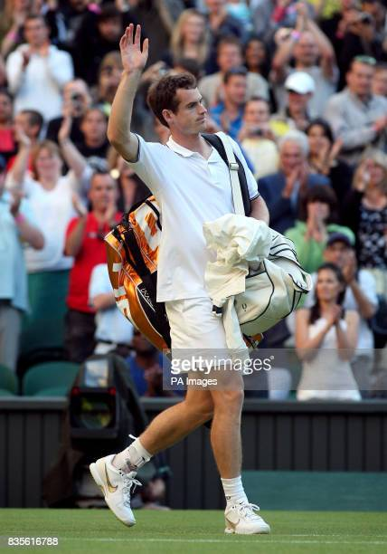 Great Britain's Andy Murray acknowledges the crowd after beating USA's Robert Kendrick at the 2009 Wimbledon Championships at the All England Lawn...