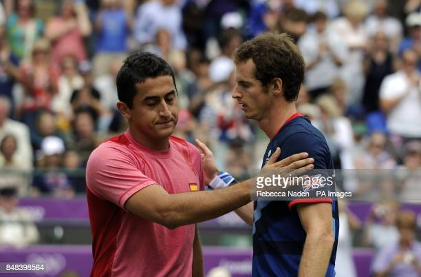 Great Britain's Andy Murray after defeating Spain's Nicolas Almagro in his Quarterfinal match of the Men's Singles at the Olympic Tennis Venue...