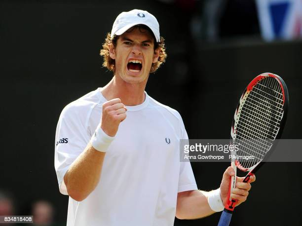 Great Britain's Andy Murray celebrates his victory against Austria's Jurgen Melzer during the Davis Cup World Group PlayOffs at The All England Lawn...