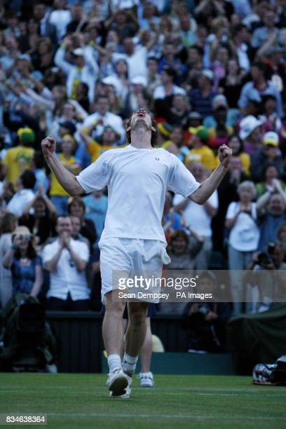 Great Britain's Andy Murray celebrates his victory over France's Richard Gasquet during the Wimbledon Championships 2008 at the All England Tennis...