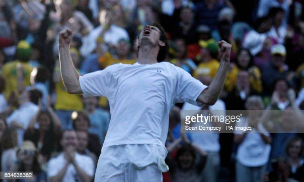 CROP** Great Britain's Andy Murray celebrates his victory over France's Richard Gasquet during the Wimbledon Championships 2008 at the All England...