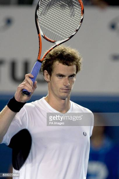Great Britain's Andy Murray celebrates his victory over Spain's Marcel Granollers during the Australian Open 2009 at Melbourne Park Melbourne...