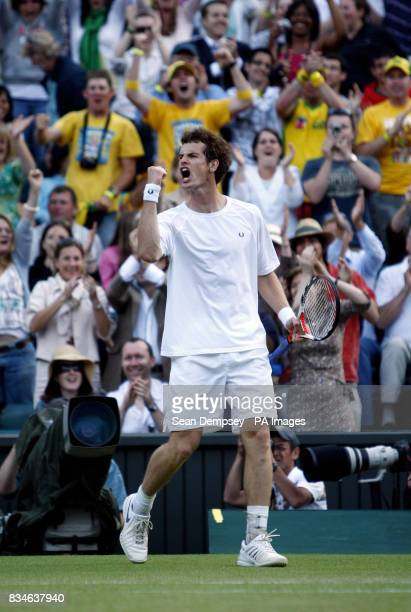Great Britain's Andy Murray celebrates winning a set during his match against France's Richard Gasquet during the Wimbledon Championships 2008 at the...