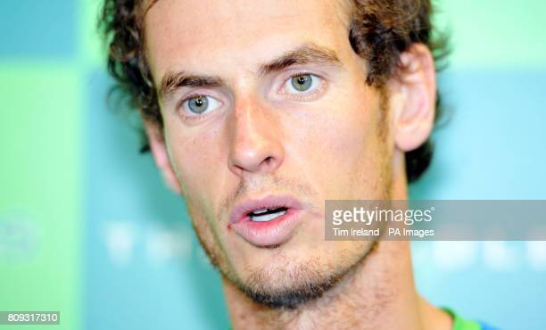 Great Britain's Andy Murray during a press conference after his exhibition match against Serbia's Victor Troicki during The Boodles event at Stoke...