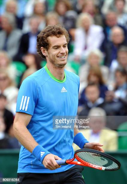 Great Britain's Andy Murray during an exhibition match against Serbia's Victor Troicki during The Boodles event at Stoke Park Buckinghamshire