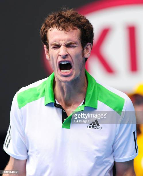 Great Britain's Andy Murray gets emotional towards the end of the game against Ukraine's Alexandr Dolgopolov during day ten of the 2011 Australian...