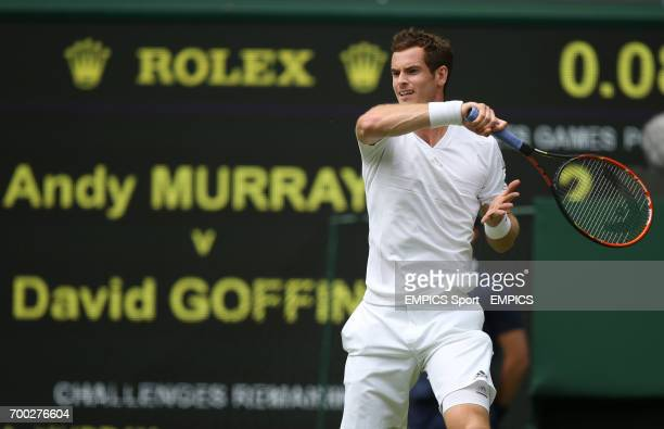 Great Britain's Andy Murray in action against Belgium's David Goffin
