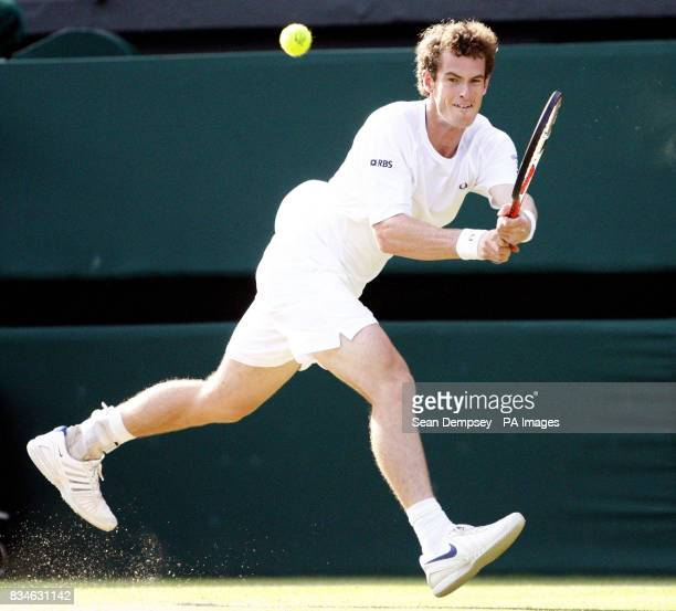 Great Britain's Andy Murray in action against France's Richard Gasquet during the Wimbledon Championships 2008 at the All England Tennis Club in...