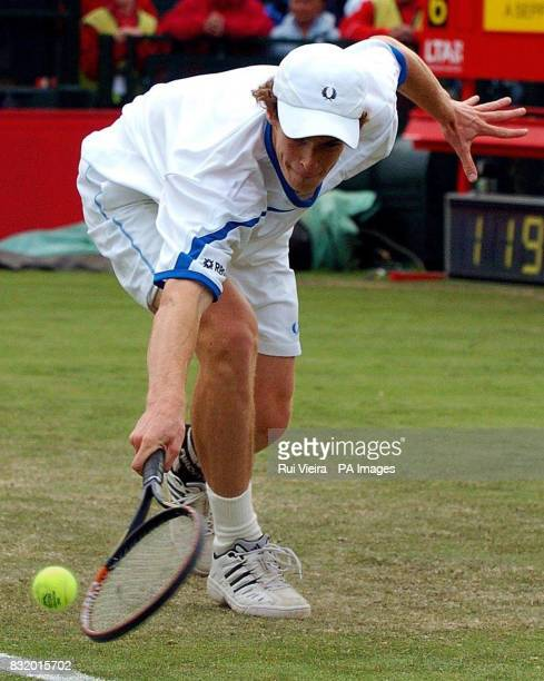 Great Britain's Andy Murray in action against Italy's Andreas Seppi during the Quarter Finals of the Red Letter Days Open at the City of Nottingham...