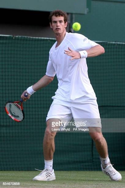Great Britain's Andy Murray in action against Spain's Rafael Nadal during the Wimbledon Championships 2008 at the All England Tennis Club in Wimbledon