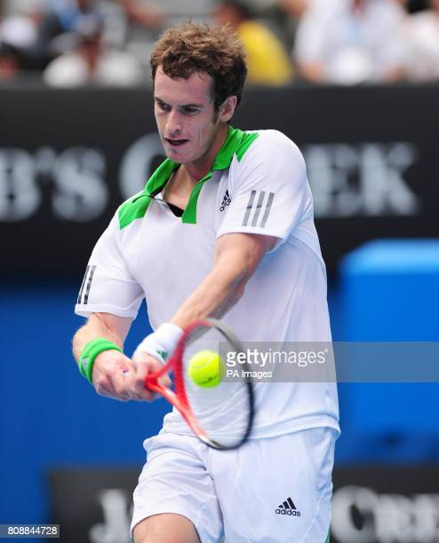 Great Britain's Andy Murray in action against Ukraine's Alexandr Dolgopolov during day ten of the 2011 Australian Open at Melbourne Park in Melbourne...