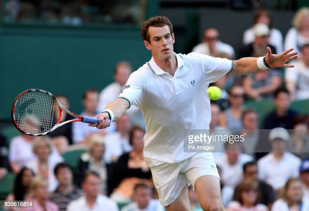 Great Britain's Andy Murray in action against USA's Robert Kendrick during the 2009 Wimbledon Championships at the All England Lawn Tennis and...