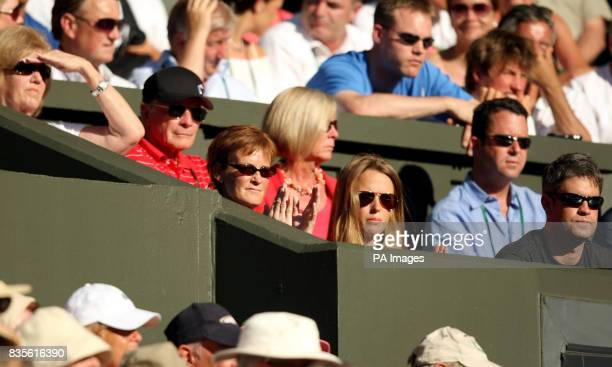 Great Britain's Andy Murray is watched by his mum Judy and his girlfriend Kim Sears during his match against USA's Robert Kendrick at the 2009...