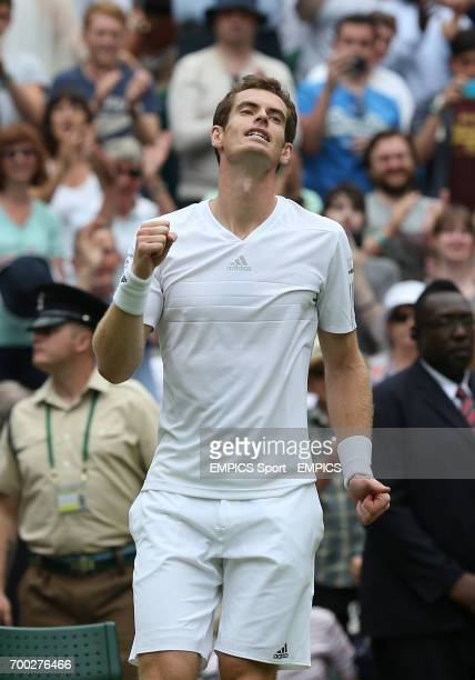 Great Britain's Andy Murray reacts after defeating Belgium's David Goffin