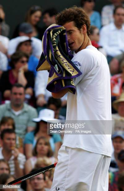 Great Britain's Andy Murray reacts during his match against France's Richard Gasquet during the Wimbledon Championships 2008 at the All England...