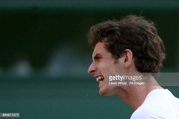 Great Britain's Andy Murray reacts in his match against Spain's Rafael Nadal during the Wimbledon Championships 2008 at the All England Tennis Club...