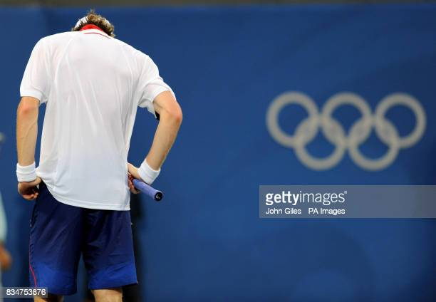 Great Britain's Andy Murray reacts in his Singles Tournament in the 2008 Beijing Olympic Games in Beijing China
