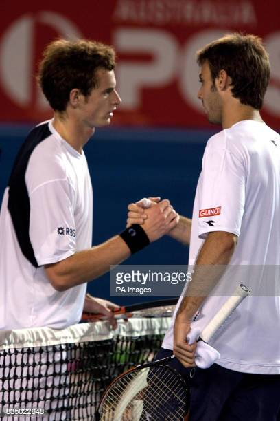 Great Britain's Andy Murray shakes hands after beating Spain's Marcel Granollers during the Australian Open 2009 at Melbourne Park Melbourne Australia