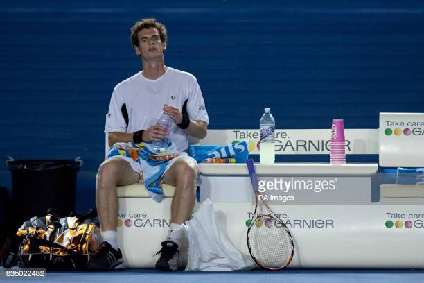 Great Britain's Andy Murray takes a break during his match against Spain's Marcel Granollers during the Australian Open 2009 at Melbourne Park...