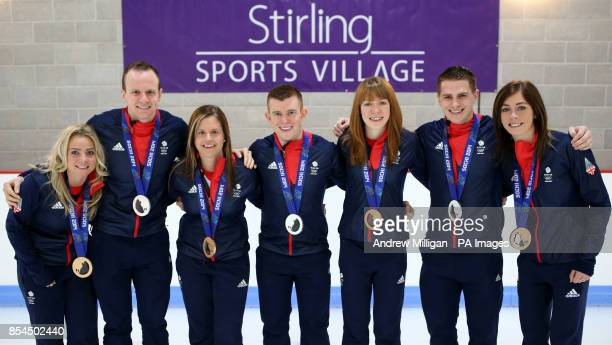 Great Britain's Anna Sloan Michael Goodfellow Vicki Adams Greg Drummond Claire Hamilton Scott Andrews and Eve Muirhead during a photocall with men...