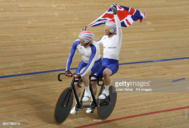 Great Britain's Anthony Kappes and Barney Storey after capturing gold in the mens sprint BVI in the Laoshan Velodrome at the Beijing Paralympic Games...