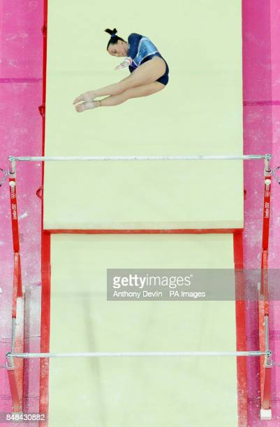 Great Britain's Beth Tweddle competes in the Women's Uneven Bars Final at North Greenwich Arena London during day ten of the London 2012 Olympics