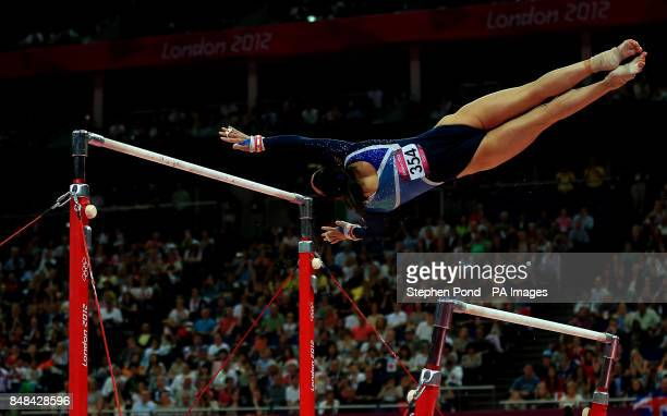 Great Britain's Beth Tweddle during her routine in the Women's Uneven Bars Final at North Greenwich Arena London during day ten of the London 2012...