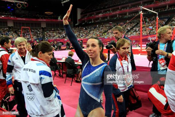Great Britain's Beth Tweddle reacts after winning the Bronze medal in the Women's Uneven Bars Final at North Greenwich Arena London during day ten of...