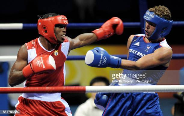 Great Britain's Billy Joe Saunders in action against Cuba's Carlos Banteaux Suarez at the Beijing Workers Gymnasium in Beijing China