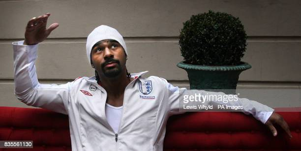 Great Britain's boxer David Haye speaks to the media during a press conference at Cavendish Square London