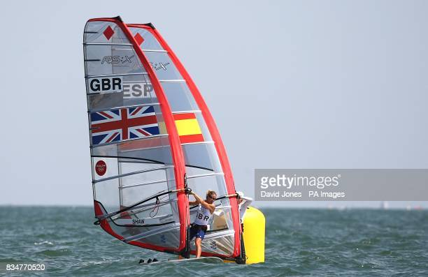 Great Britain's Bryony Shaw and Spain's Marina Alabau battle against each other in the final round of the Women's RSX Sailing Competition at the...