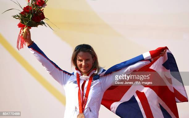 Great Britain's Bryony Shaw celebrates winning her Bronze Medal after the final round of the RSX Sailing Competition at the Olympic Games' Sailing...
