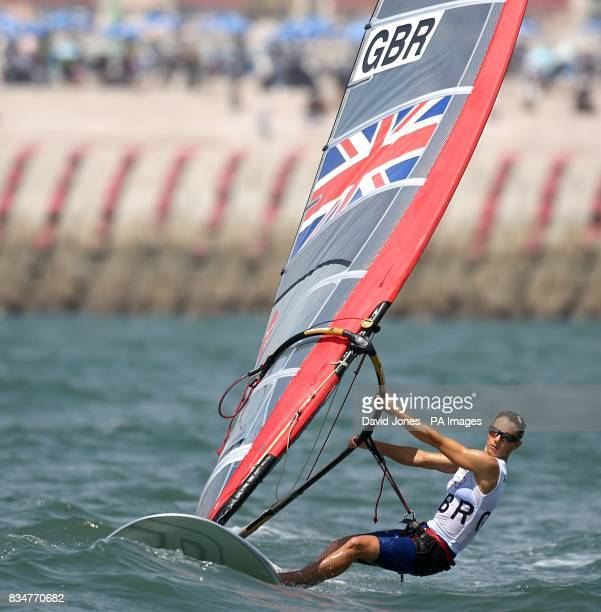 Great Britain's Bryony Shaw sails in the final round of the Women's RSX Sailing Competition at the Olympic Games' Sailing Centre in Qingdao on day 12...