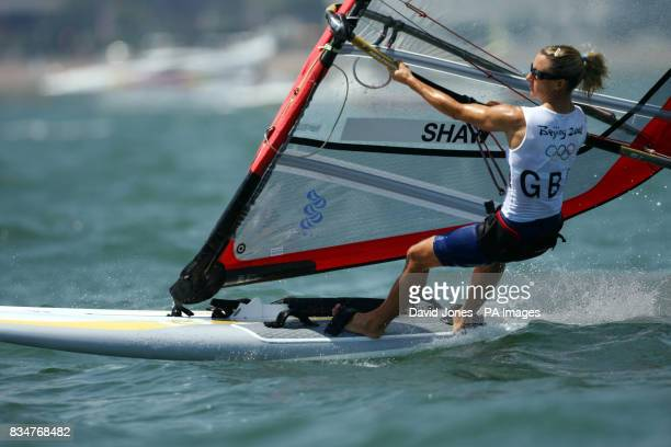 Great Britain's Bryony Shaw sails in the RSX women's medal race to claim a bronze at the 2008 Beijing Olympic Games Sailing Centre in Qingdao China
