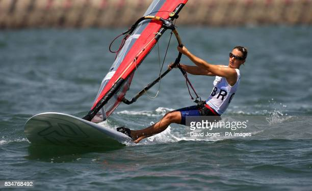 Great Britain's Bryony Shaw sails in the RSX women's medal race to claim a bronze at the 2008 Beijing Olympic Games' Sailing Centre in Qingdao China