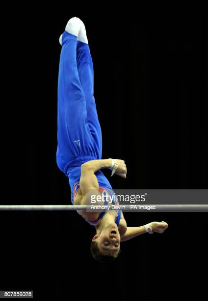 Great Britain's Cameron Mackenzie on the high bar Junior Qualification during the European Artistic Championships at the NIA Birmingham