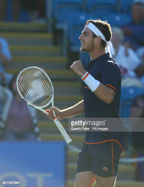 Great Britain's Cameron Norrie celebrates victory against Argentina's Horacio Zeballos during day four of the AEGON International at Devonshire Park...