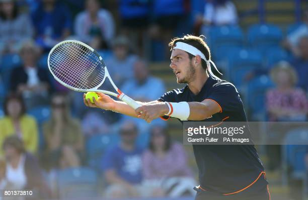 Great Britain's Cameron Norrie in action against Argentina's Horacio Zeballos during day four of the AEGON International at Devonshire Park Eastbourne