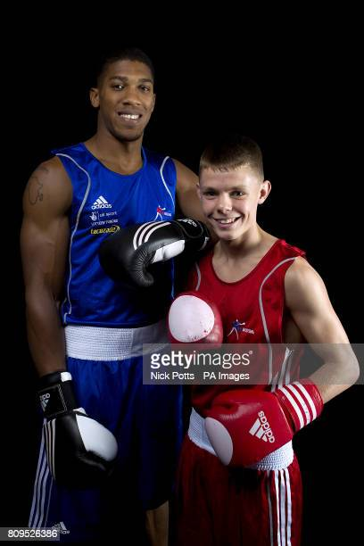 Great Britain's Charlie Edwards with Anthony Joshua during a photocall at the English Institute of Sport Sheffield