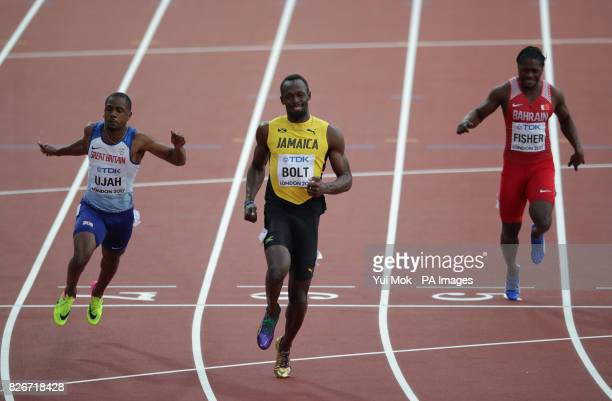 Great Britain's Chijinda Ujah Jamaica's Usain Bolt and Bahrain's Andrew Fisher in the Men's 100m semifinal heat three during day two of the 2017 IAAF...