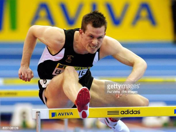 Great Britain's Chris Baillie during the Men's 60m Hurdles during the AVIVA Grand Prix at the National Indoor Arena Birmingham